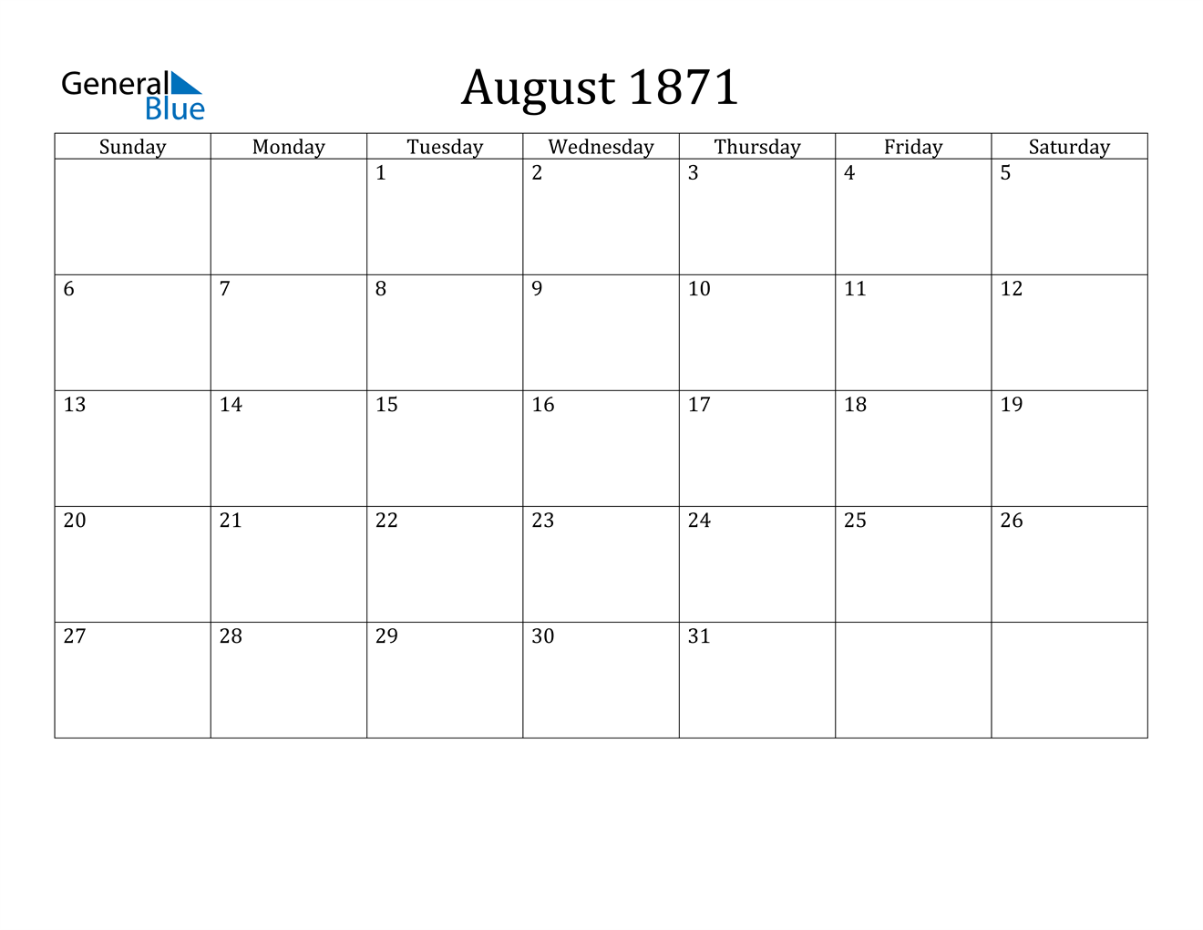 Image of August 1871 Calendar