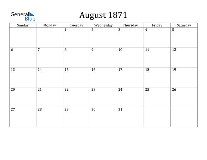 Image of August 1871 Classic Professional Calendar Calendar