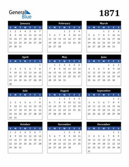Image of 1871 1871 Calendar Stylish Dark Blue and Black