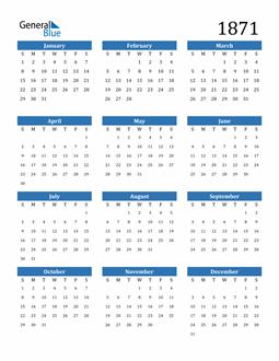 Image of 1871 1871 Calendar