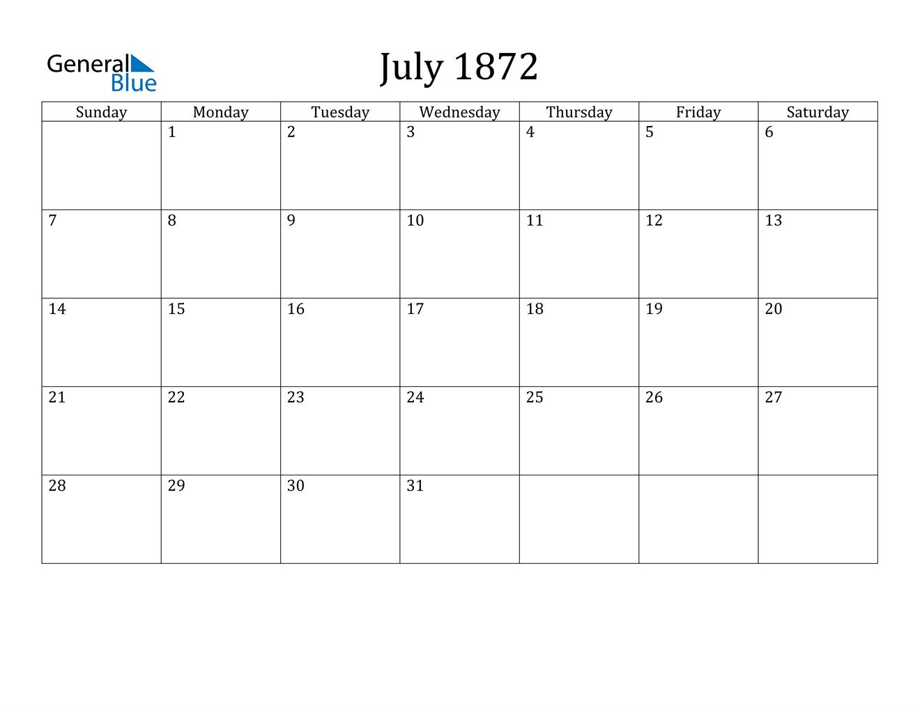 Image of July 1872 Calendar