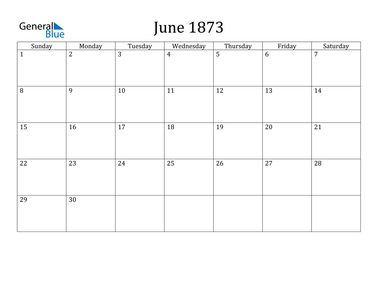 Image of June 1873 Calendar