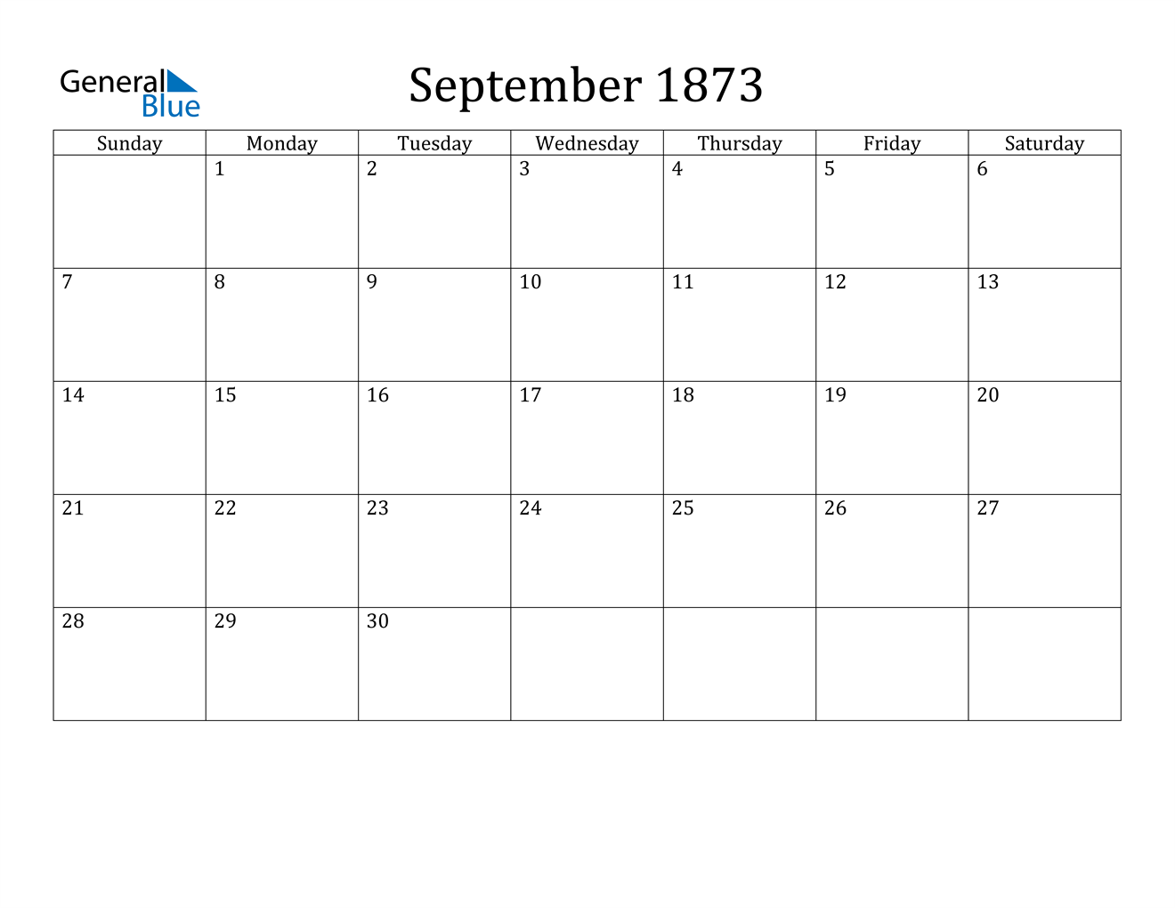Image of September 1873 Calendar
