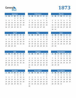 Image of 1873 1873 Calendar Blue with No Borders