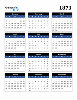 Image of 1873 1873 Calendar Stylish Dark Blue and Black