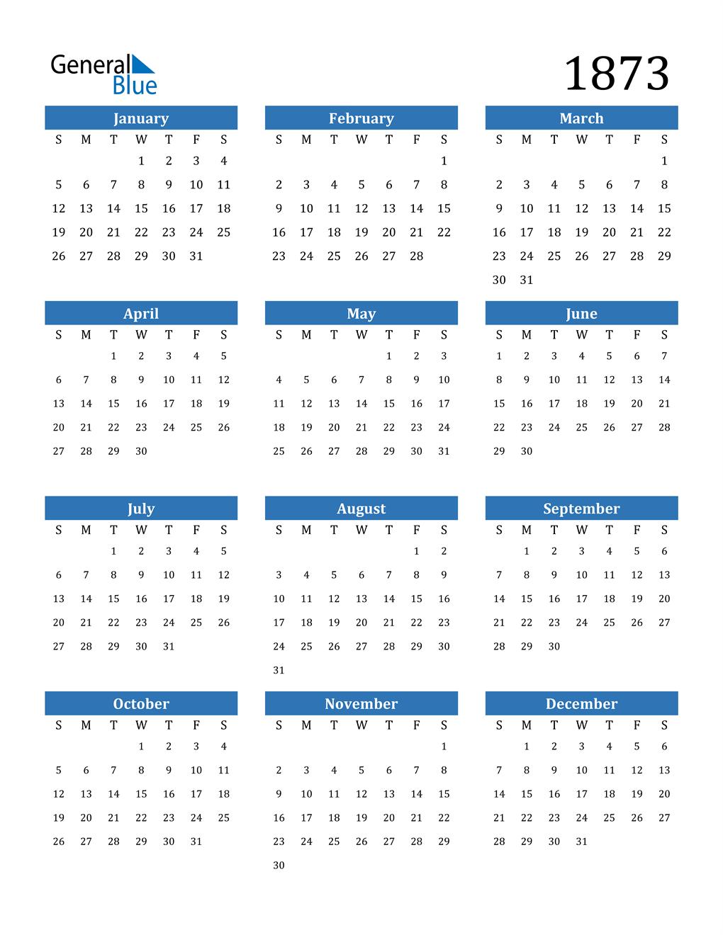 1873 Calendar (PDF, Word, Excel)