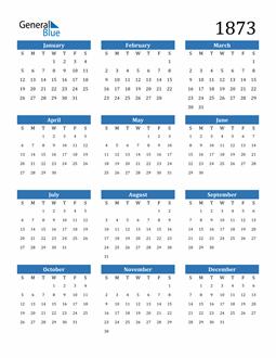 Image of 1873 1873 Calendar