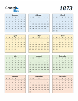 Image of 1873 1873 Calendar with Color