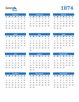 Image of 1874 1874 Calendar Blue with No Borders