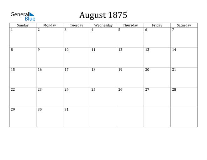 Image of August 1875 Classic Professional Calendar Calendar