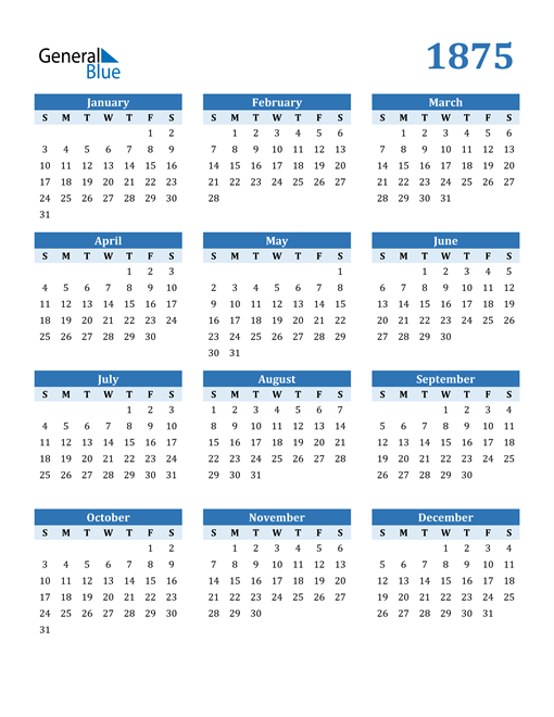 Image of 1875 1875 Calendar Blue with No Borders