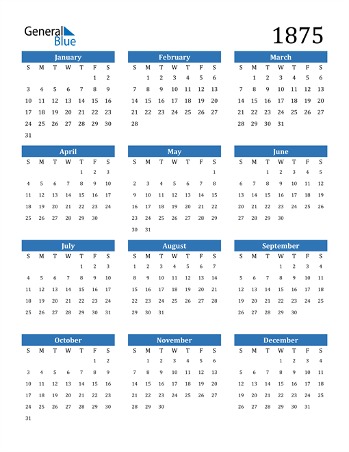 Image of 1875 1875 Calendar