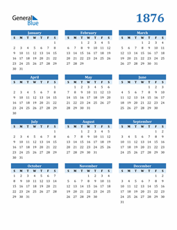 Image of 1876 1876 Calendar Blue with No Borders