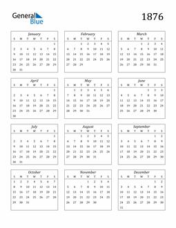 Image of 1876 1876 Calendar Streamlined