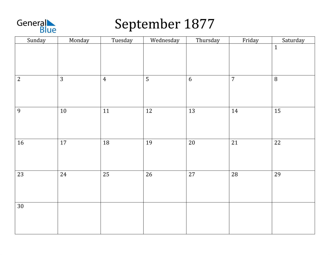 Image of September 1877 Calendar