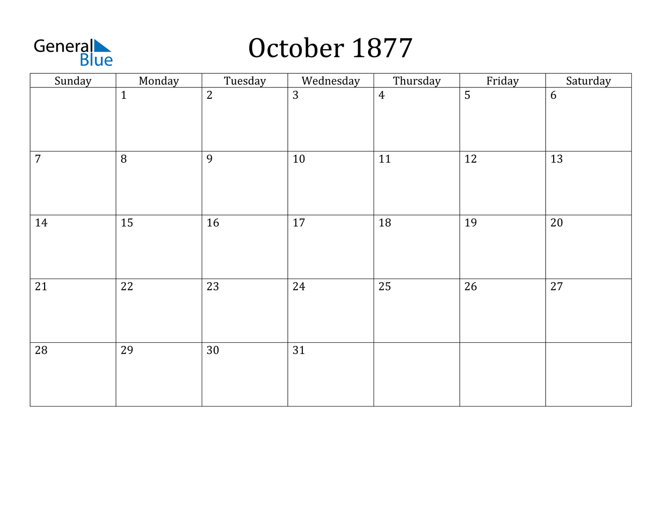 Image of October 1877 Calendar