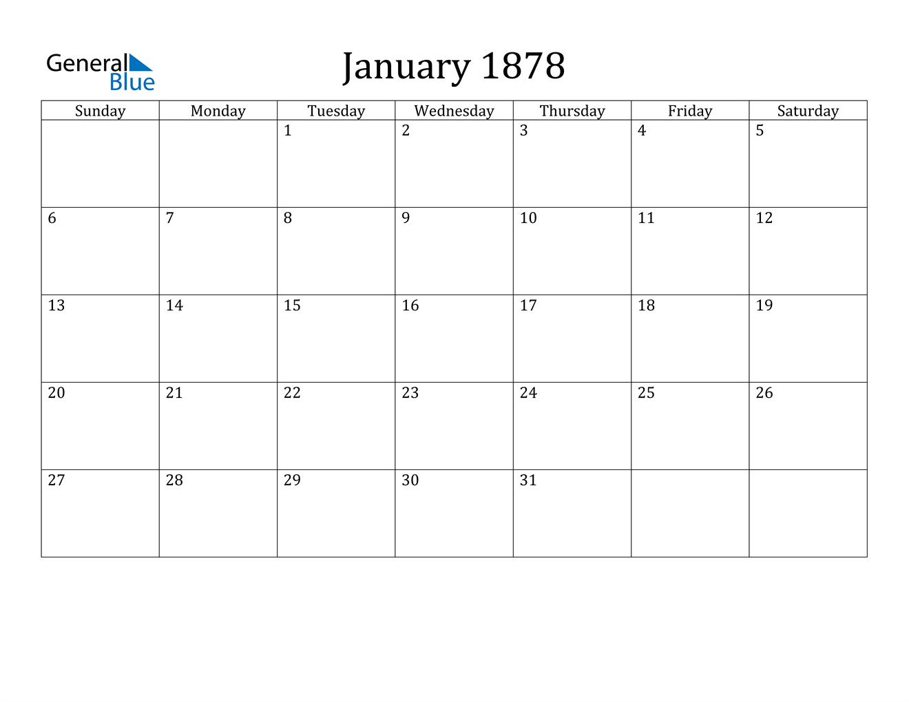 Image of January 1878 Calendar