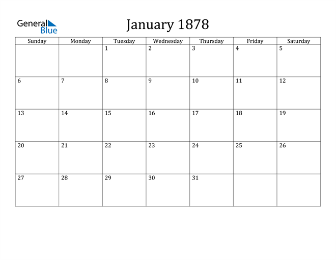 Image of January 1878 Classic Professional Calendar Calendar