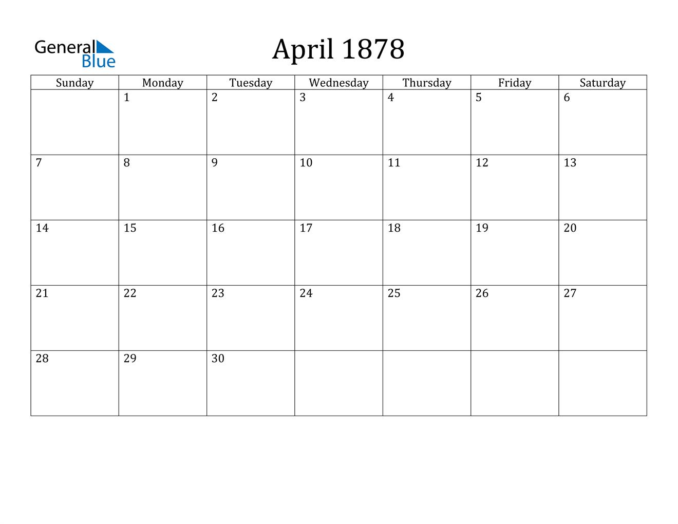 Image of April 1878 Classic Professional Calendar