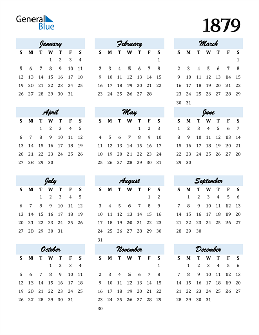 Image of 1879 1879 Calendar Cool and Funky