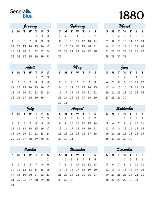 Image of 1880 1880 Calendar Cool and Funky
