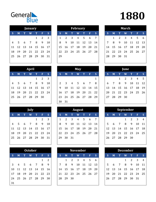 Image of 1880 1880 Calendar Stylish Dark Blue and Black