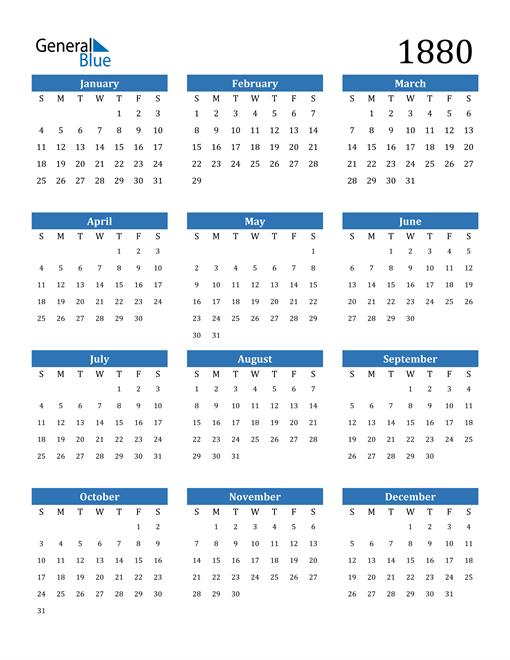 Image of 1880 1880 Calendar