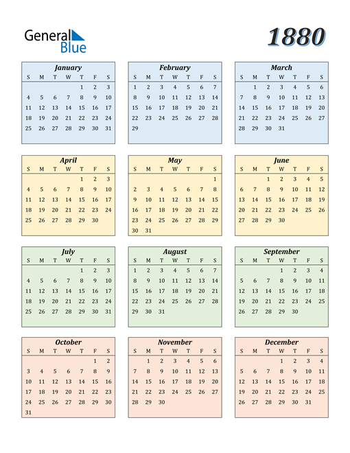 Image of 1880 1880 Calendar with Color