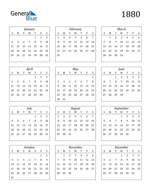 Image of 1880 1880 Calendar Streamlined