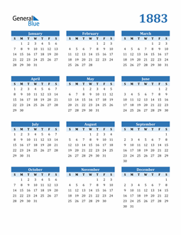 Image of 1883 1883 Calendar Blue with No Borders