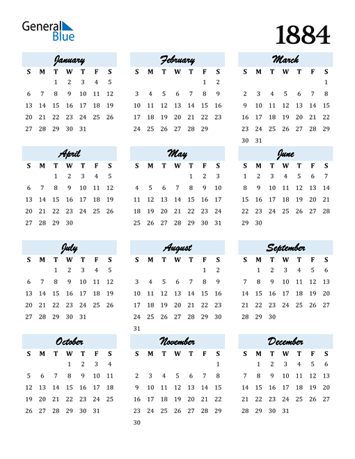 Image of 1884 1884 Calendar Cool and Funky