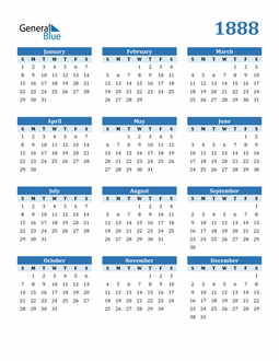 Image of 1888 1888 Calendar Blue with No Borders