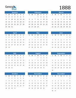 Image of 1888 1888 Calendar