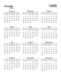 Image of 1888 1888 Printable Calendar Classic