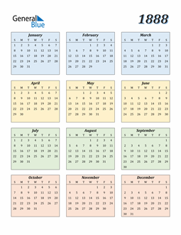 Image of 1888 1888 Calendar with Color