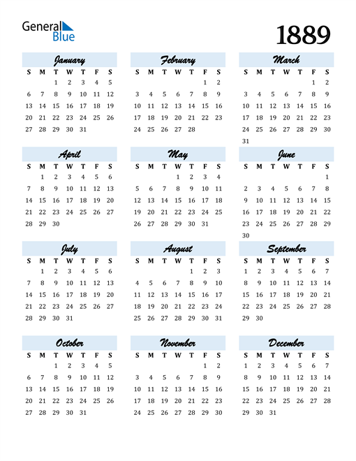 Image of 1889 1889 Calendar Cool and Funky
