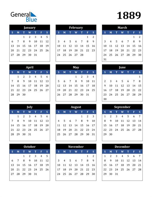 Image of 1889 1889 Calendar Stylish Dark Blue and Black