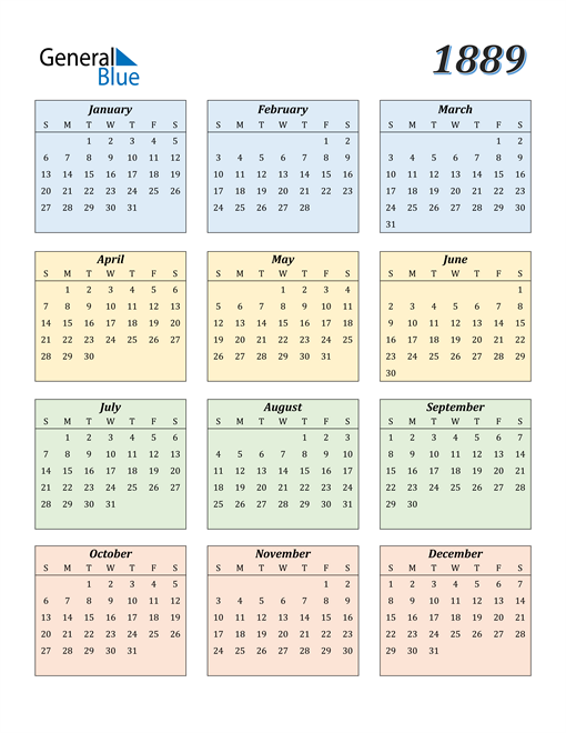Image of 1889 1889 Calendar with Color