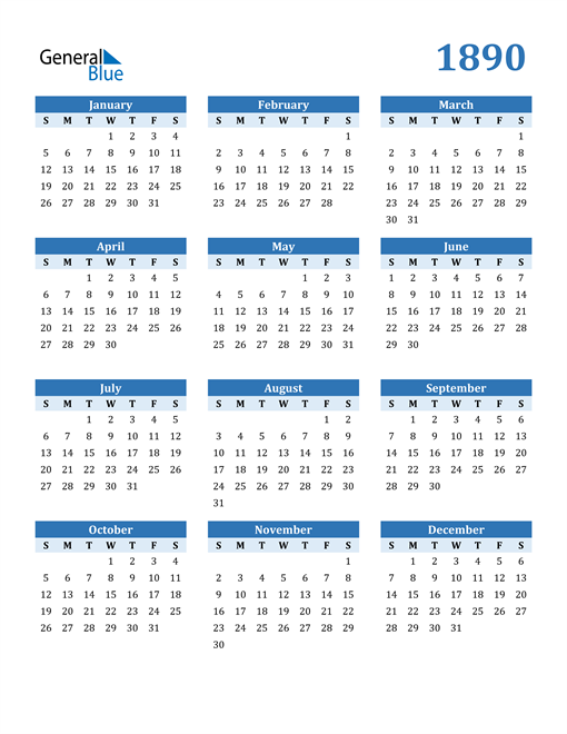 Image of 1890 1890 Calendar Blue with No Borders