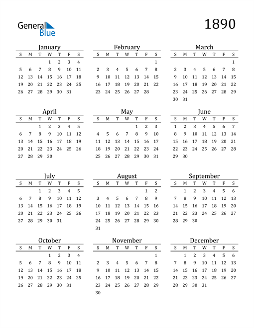 Image of 1890 1890 Printable Calendar Classic