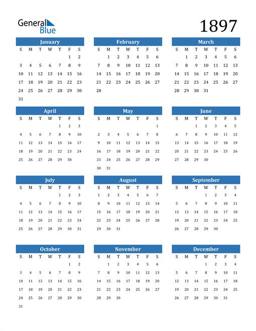 Image of 1897 1897 Calendar