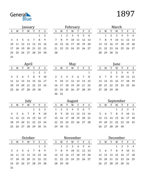 Image of 1897 1897 Printable Calendar Classic