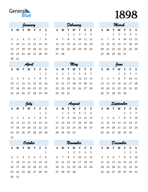 Image of 1898 1898 Calendar Cool and Funky