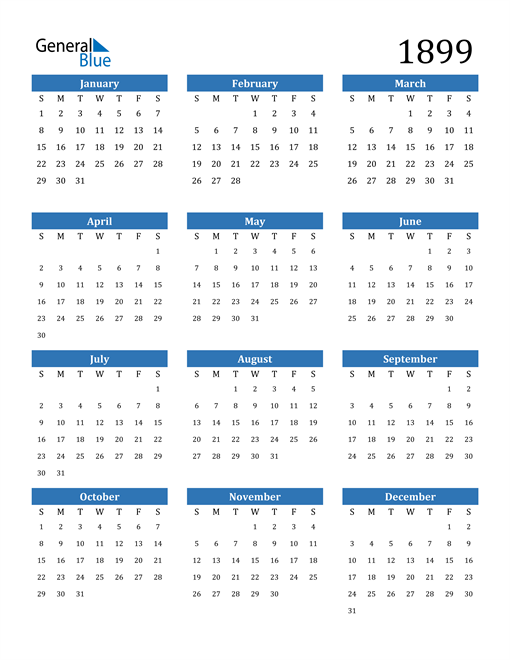 Image of 1899 1899 Calendar