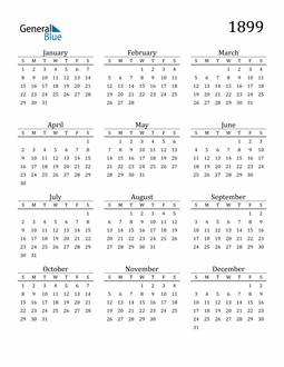 Image of 1899 1899 Printable Calendar Classic