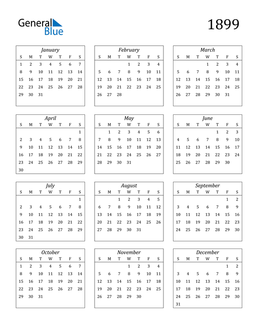 Image of 1899 1899 Calendar Streamlined