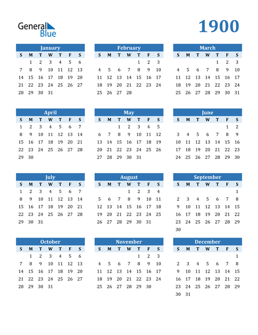 Image of 1900 1900 Calendar Blue with No Borders