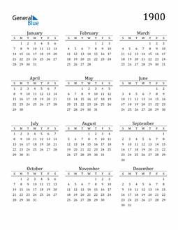 Image of 1900 1900 Printable Calendar Classic