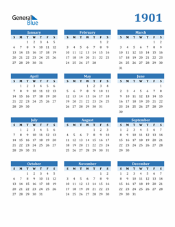 Image of 1901 1901 Calendar Blue with No Borders