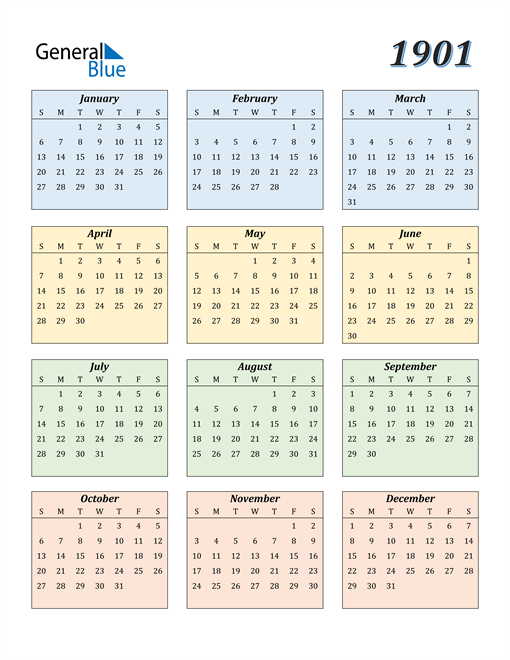 Image of 1901 1901 Calendar with Color